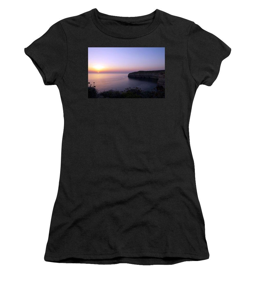 Dwejra Women's T-Shirt (Athletic Fit) featuring the photograph Dwejra Cliffs by Focus Fotos