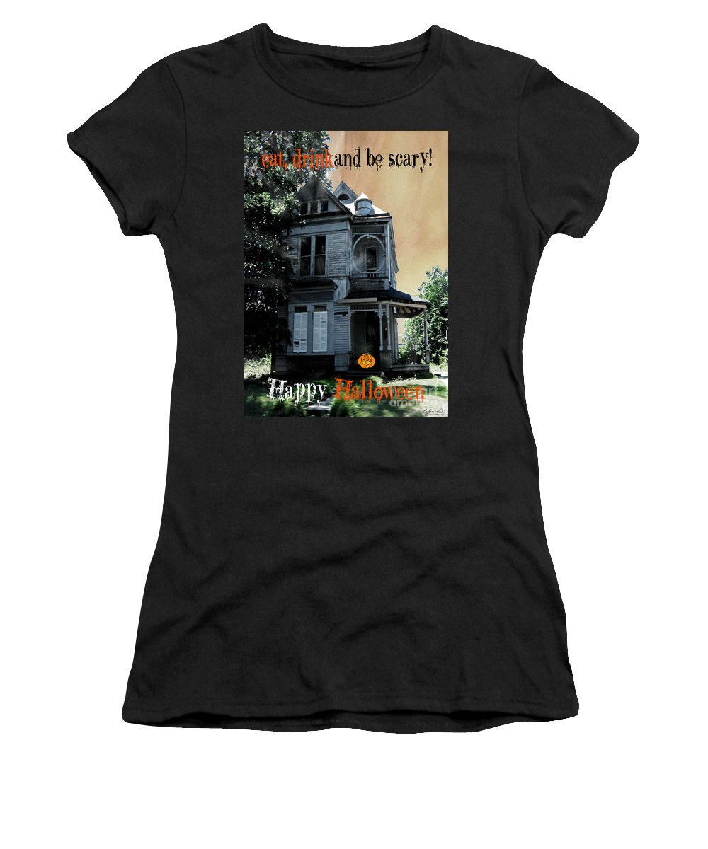 Victorian House Women's T-Shirt (Athletic Fit) featuring the digital art Eat Drink And Be Scary by Lizi Beard-Ward