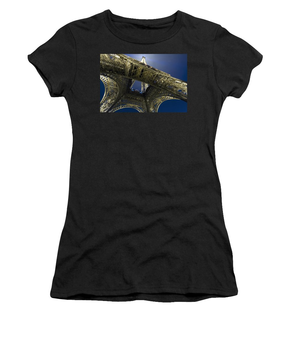 No People Women's T-Shirt (Athletic Fit) featuring the photograph Eiffel Tower At Night,directly Below by Axiom Photographic