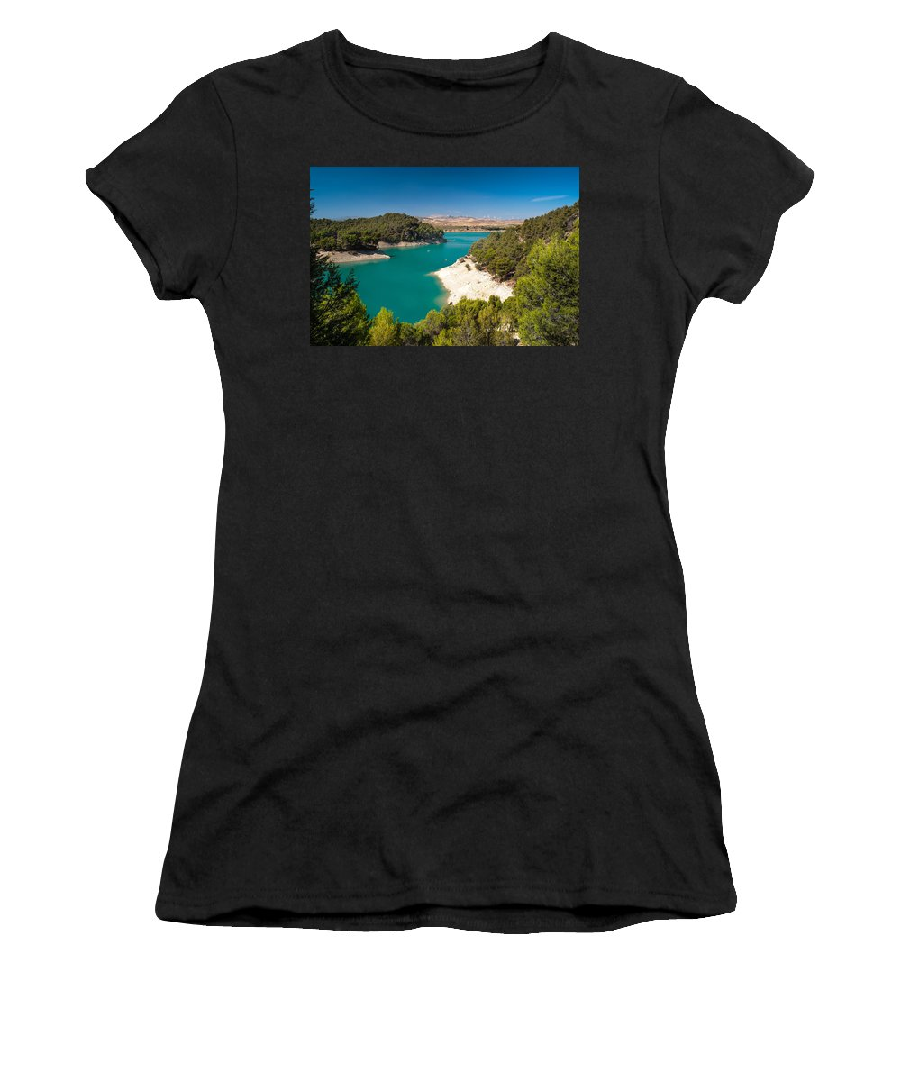 Nature Women's T-Shirt (Athletic Fit) featuring the photograph Emerald Lake. El Chorro. Spain by Jenny Rainbow