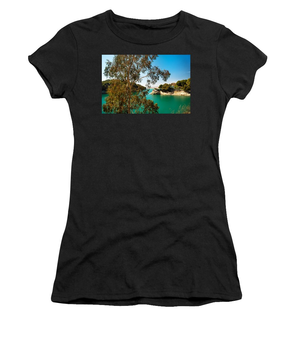 Nature Women's T-Shirt (Athletic Fit) featuring the photograph Emerald Lake With Duke House I. El Chorro. Spain by Jenny Rainbow
