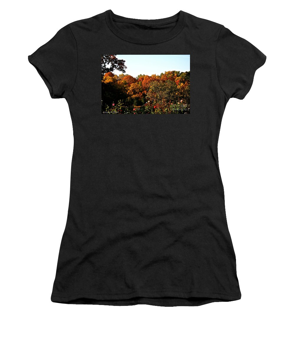 Outdoors Women's T-Shirt featuring the photograph Fall Foliage And Roses by Susan Herber
