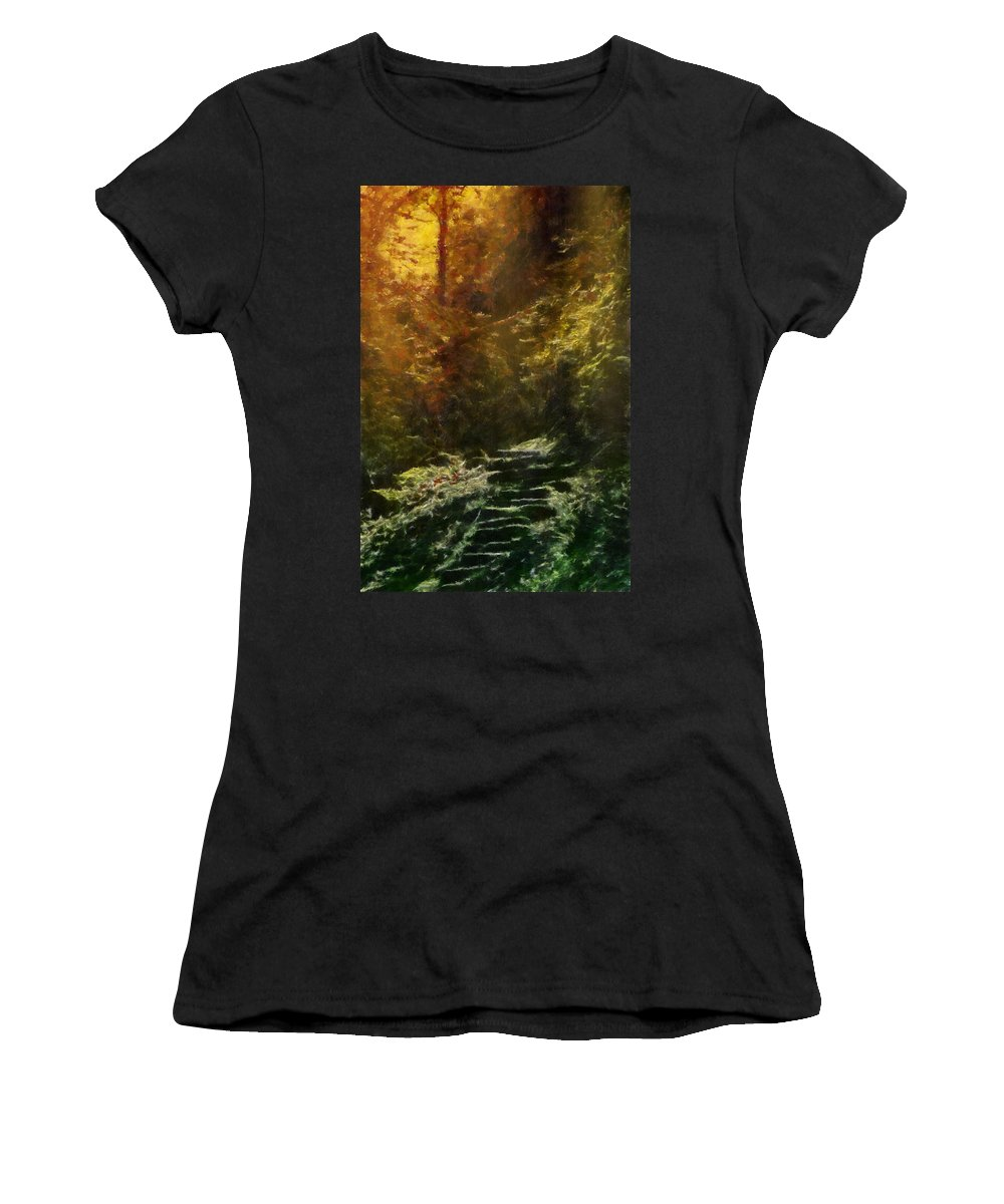 Texture Women's T-Shirt featuring the digital art Fantasy Forest by Georgiana Romanovna