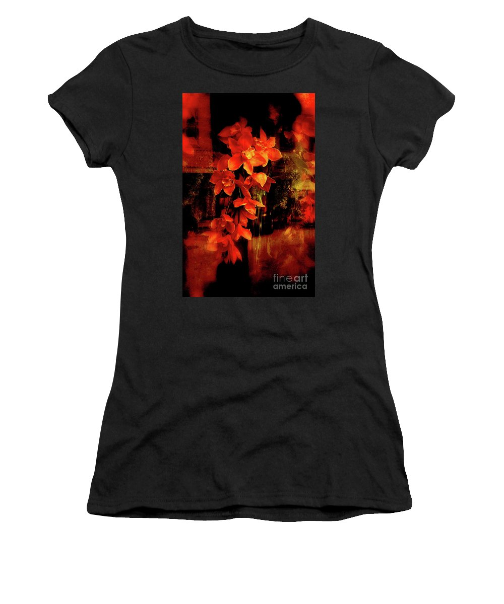 Orchids Women's T-Shirt (Athletic Fit) featuring the photograph Fiery Ladies by Susanne Van Hulst