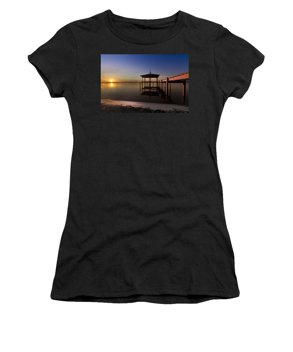 Clouds Women's T-Shirt (Athletic Fit) featuring the photograph Fire Lake by Debra and Dave Vanderlaan
