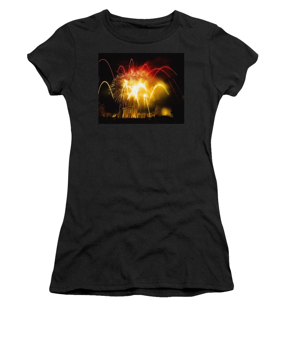 Horizontal Women's T-Shirt (Athletic Fit) featuring the photograph Fireworks At Philadelphia Museum Of Art by Axiom Photographic