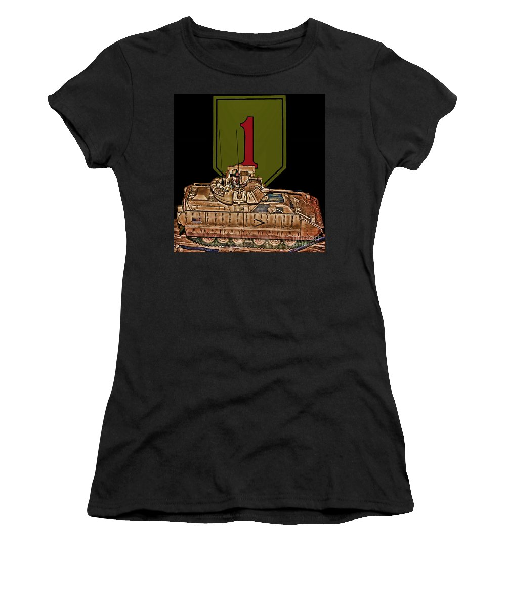 First Infantry Division Women's T-Shirt (Athletic Fit) featuring the digital art First Infantry Division Bradley Fighting Vehicle by Tommy Anderson