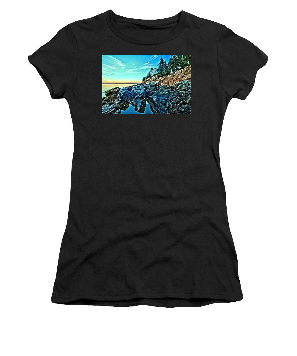 Bass Harbor Light Women's T-Shirt (Athletic Fit) featuring the photograph First Light At Bass Harbor by Adam Jewell