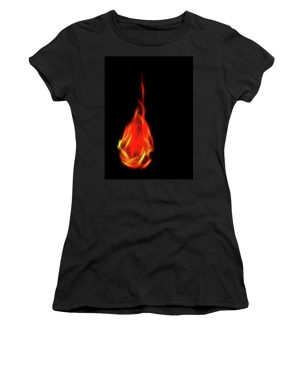 Fire Women's T-Shirt featuring the photograph Flaming Tear by Lisa Stanley