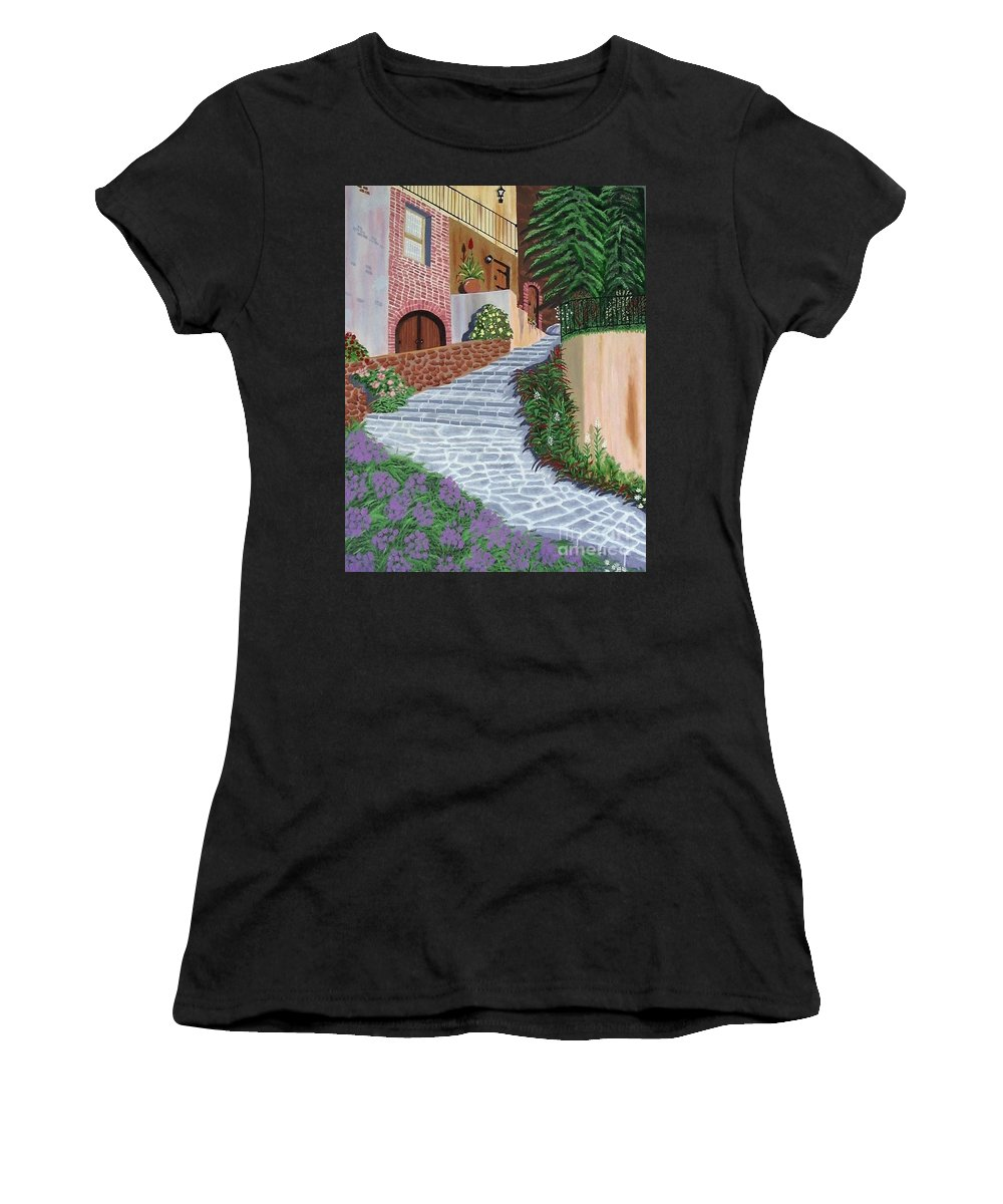 Florence Italy Apartments Women's T-Shirt (Athletic Fit) featuring the painting Florence Italy Apartments by Don Monahan