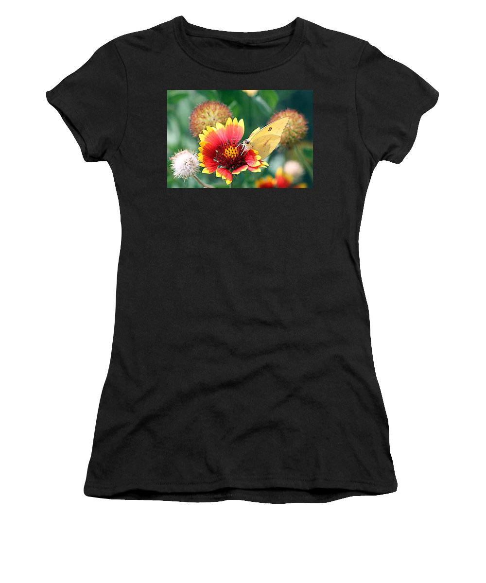 Indian Blankets Women's T-Shirt (Athletic Fit) featuring the photograph Flower Butterfly by Elizabeth Winter