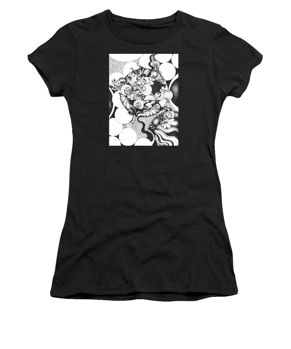 Ink Women's T-Shirt (Athletic Fit) featuring the drawing Moonlight Reflections by Danielle Scott