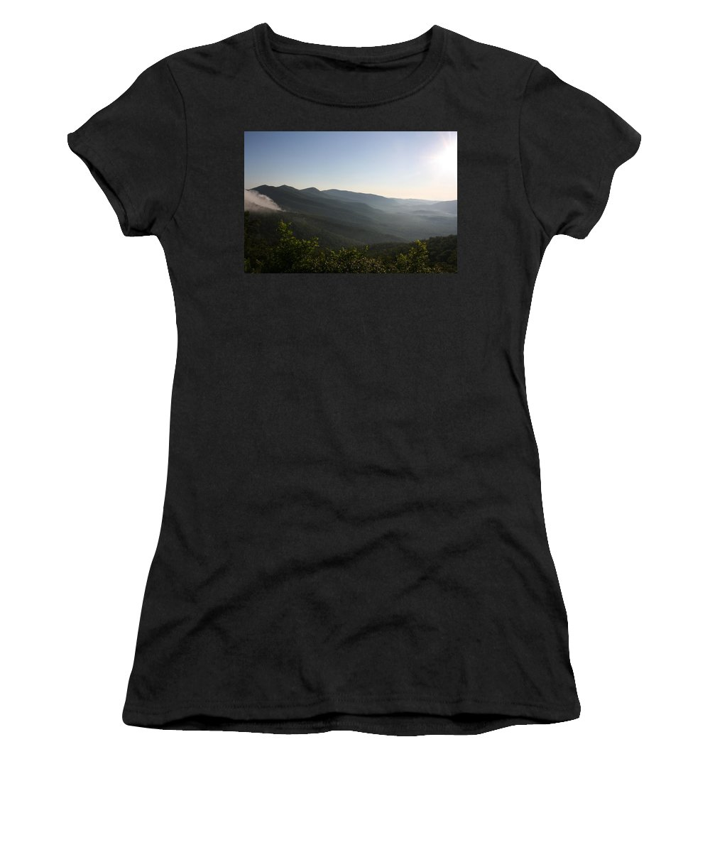 North Carolina Women's T-Shirt (Athletic Fit) featuring the photograph Foggy Mountain by Stacy C Bottoms