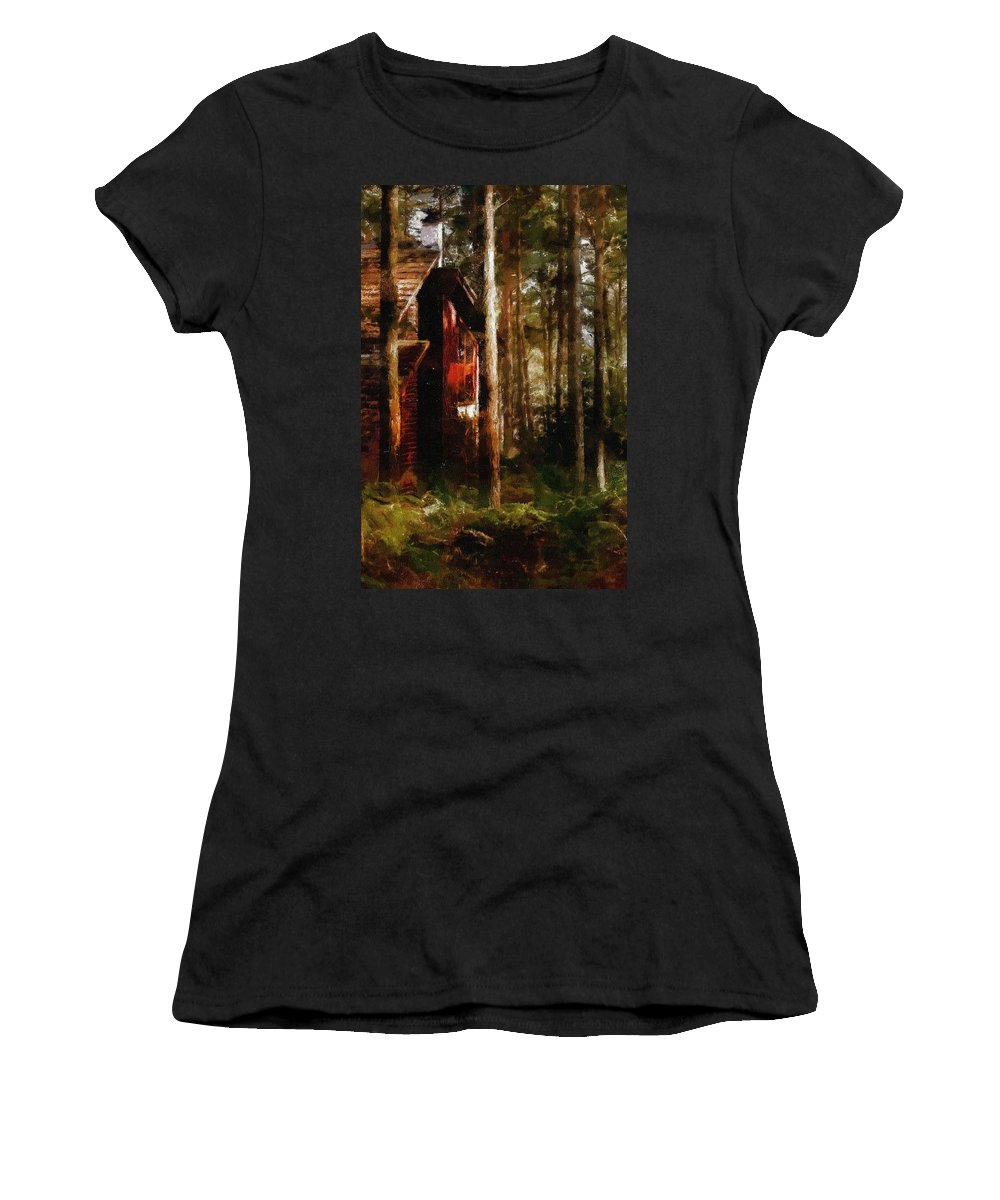 Impressionism Women's T-Shirt (Athletic Fit) featuring the painting Forest In Fall by Georgiana Romanovna