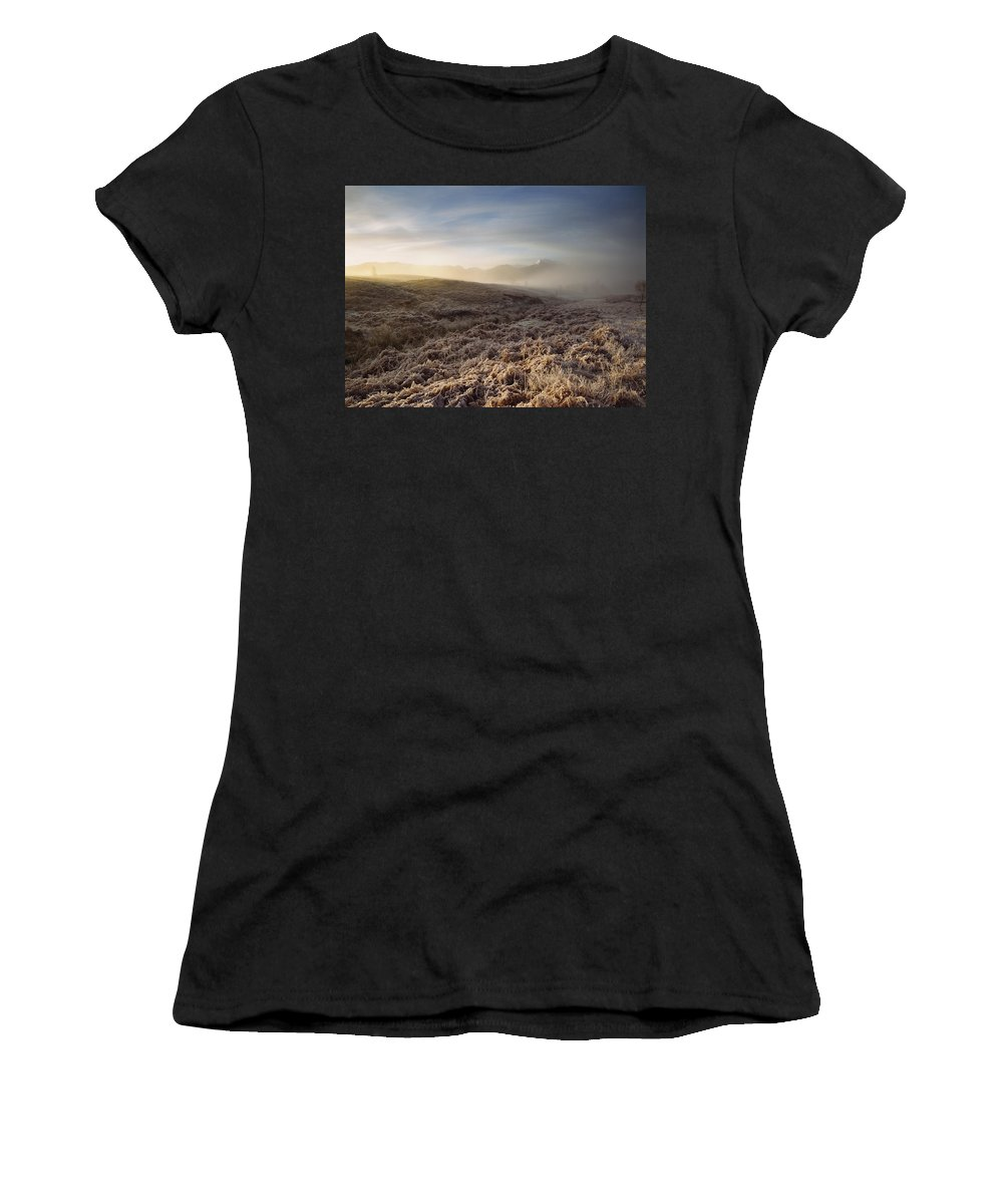 Photography Women's T-Shirt (Athletic Fit) featuring the photograph Frosted Fields And Misty Valley by Axiom Photographic