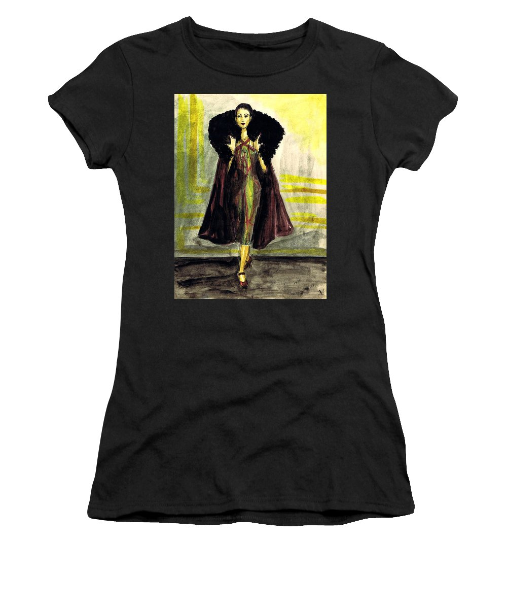 Nostalgia Women's T-Shirt (Athletic Fit) featuring the drawing Fur Collar by Mel Thompson
