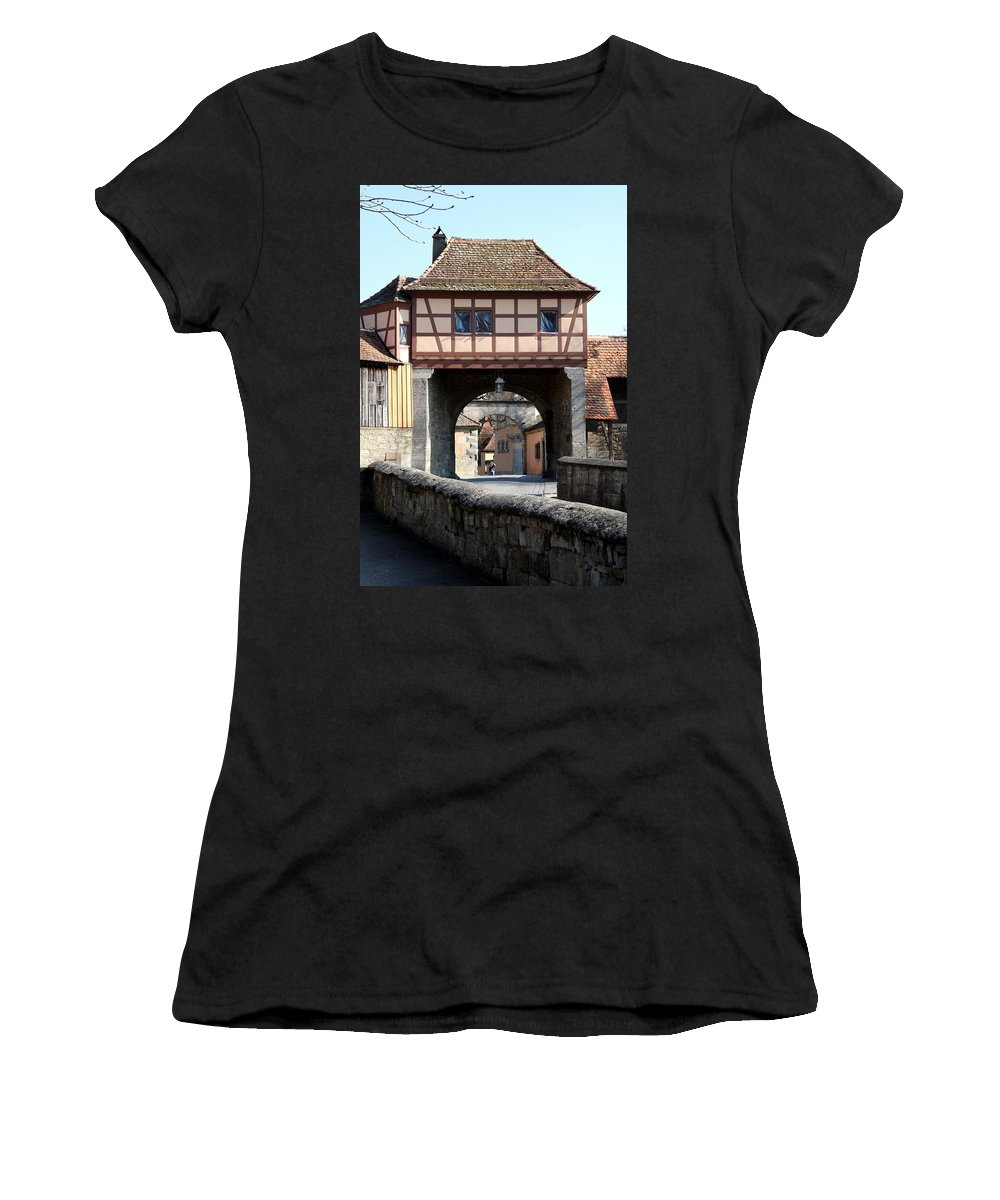 Gate House Women's T-Shirt (Athletic Fit) featuring the photograph Gate House - Rothenburg by Christiane Schulze Art And Photography