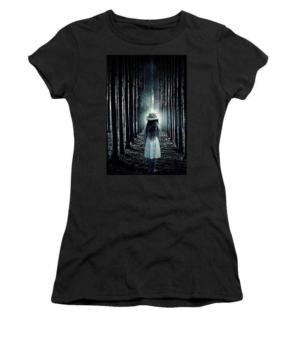 Girl Women's T-Shirt (Athletic Fit) featuring the photograph Girl In The Forest by Joana Kruse