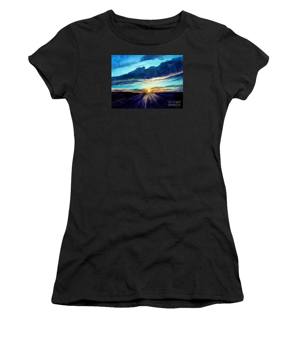Sunset Women's T-Shirt (Athletic Fit) featuring the painting Glory Of The Sunset 2 by Christopher Shellhammer