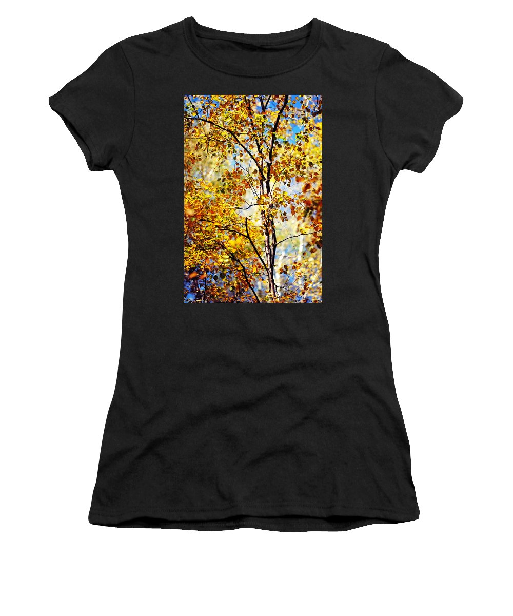 Autumn Women's T-Shirt featuring the photograph Golden Dress Haute Couture. Inspired By Autumn by Jenny Rainbow