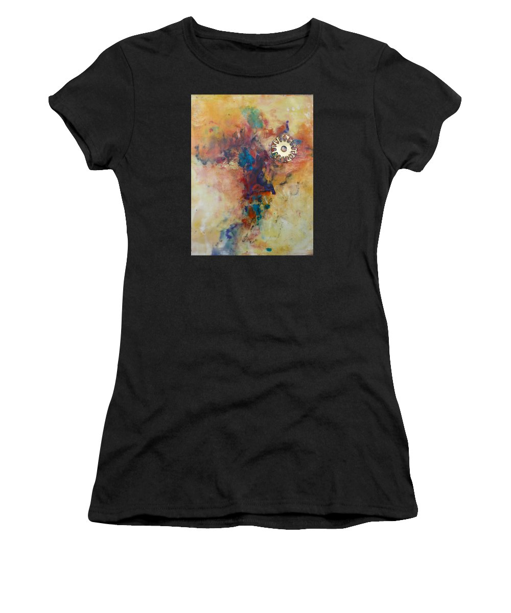 Abstract Women's T-Shirt (Athletic Fit) featuring the painting Golden Gears by Ezshwan Winding