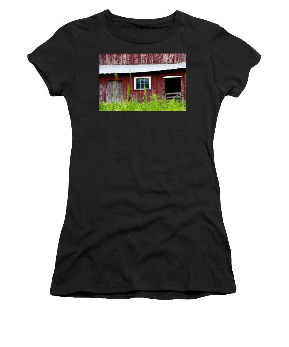 Red Barn Women's T-Shirt featuring the photograph Good Ole Red Barn by Karol Livote