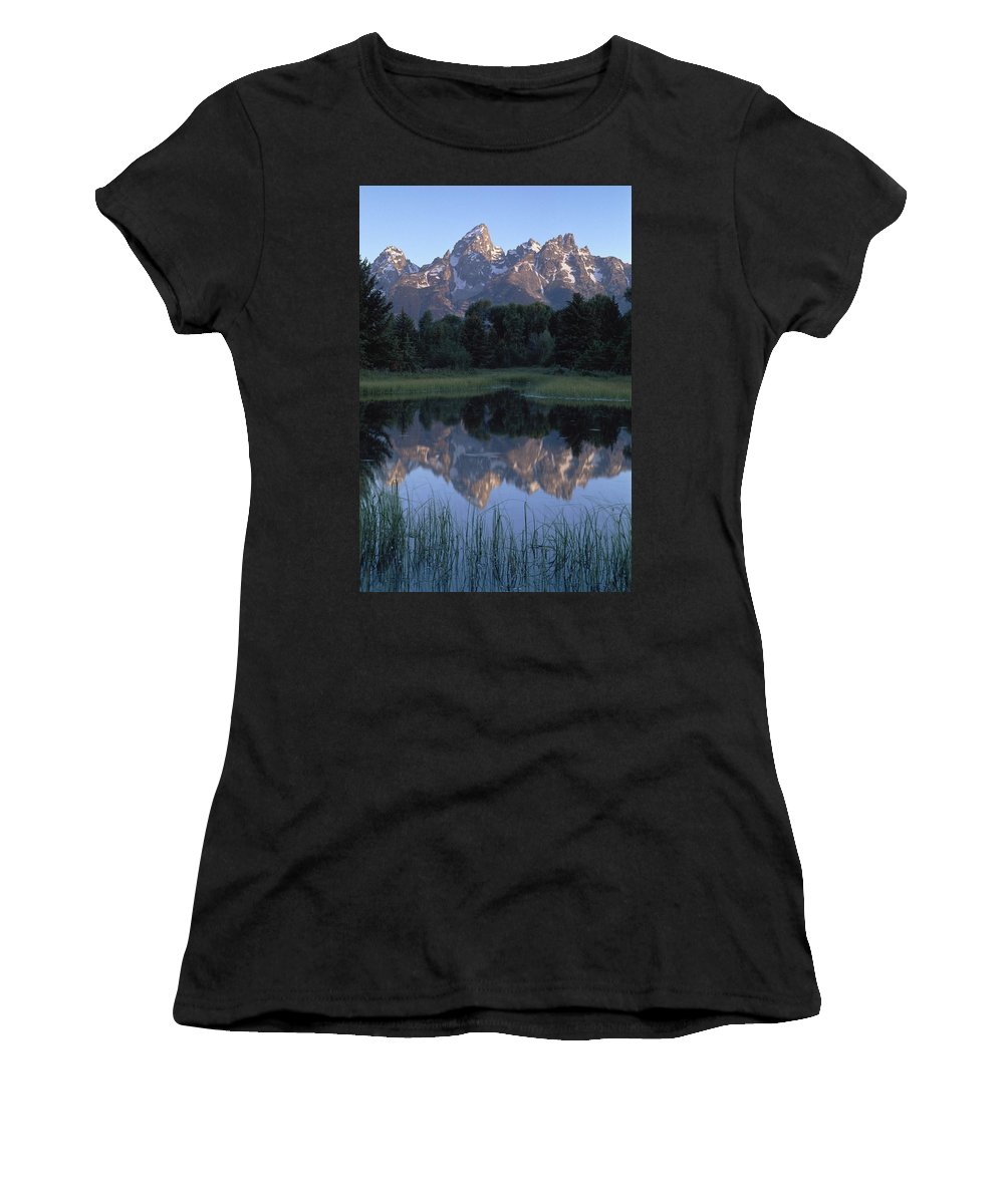 Photography Women's T-Shirt (Athletic Fit) featuring the photograph Grand Tetons From Schwabacher Landing by Axiom Photographic