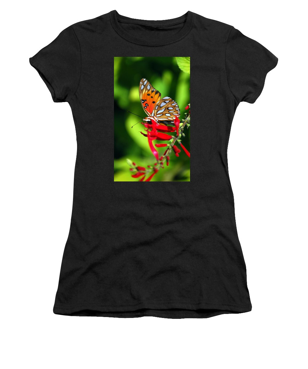 Butterfly Women's T-Shirt (Athletic Fit) featuring the photograph Gulf Fritillary by Skip Willits