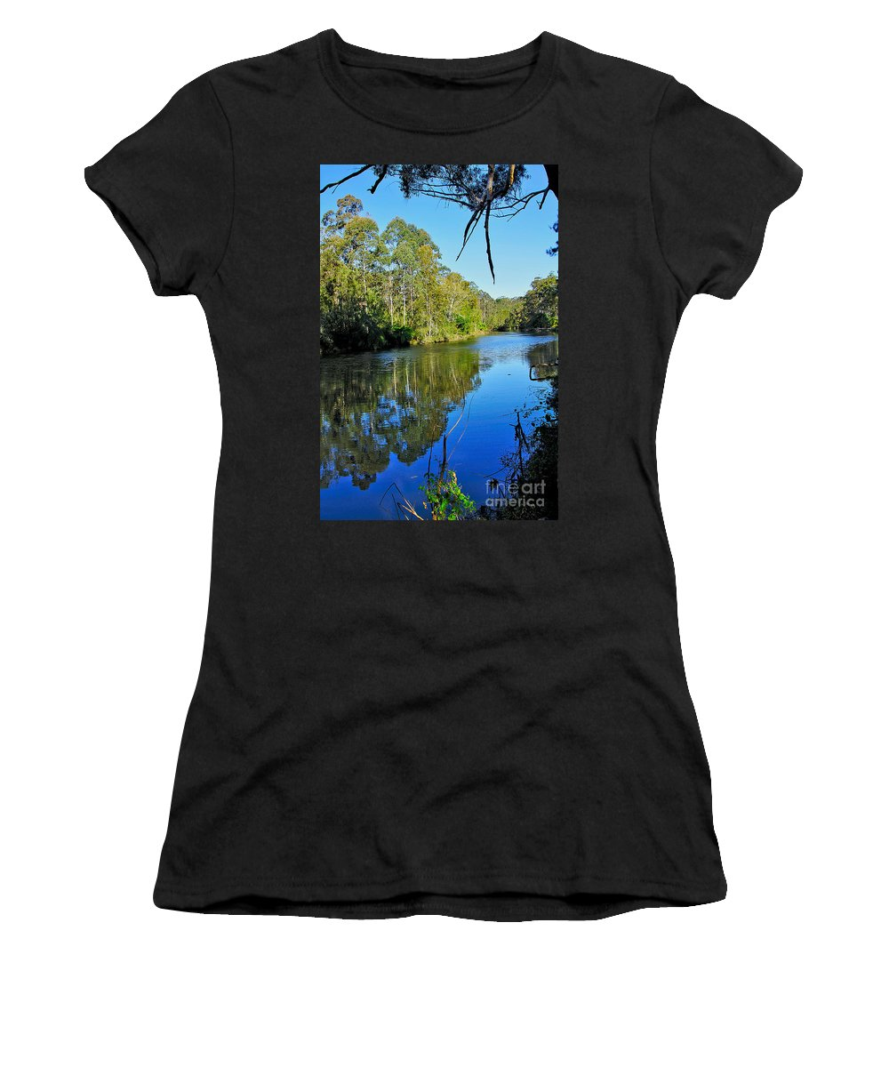 Photography Women's T-Shirt (Athletic Fit) featuring the photograph Gums Along The River by Kaye Menner