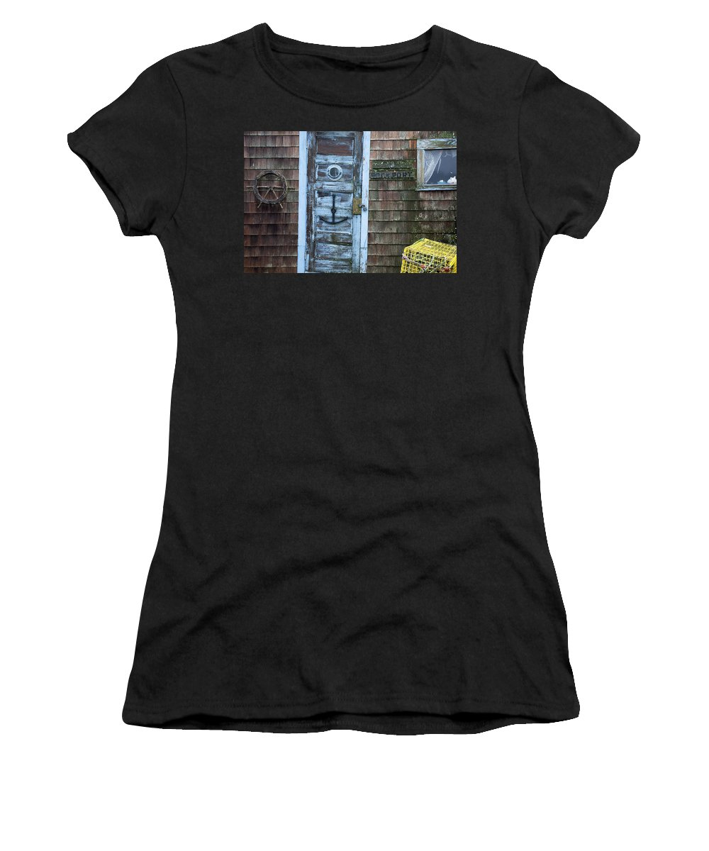 Boston Women's T-Shirt (Athletic Fit) featuring the photograph Harbor Sign by Jenna Szerlag