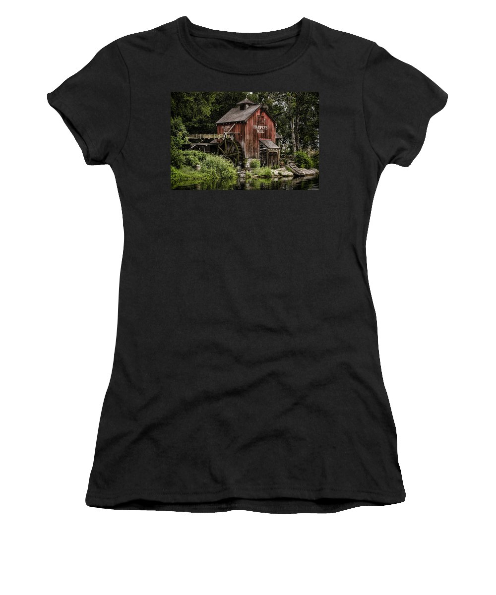Mill Women's T-Shirt (Athletic Fit) featuring the photograph Harpers Mill by Heather Applegate