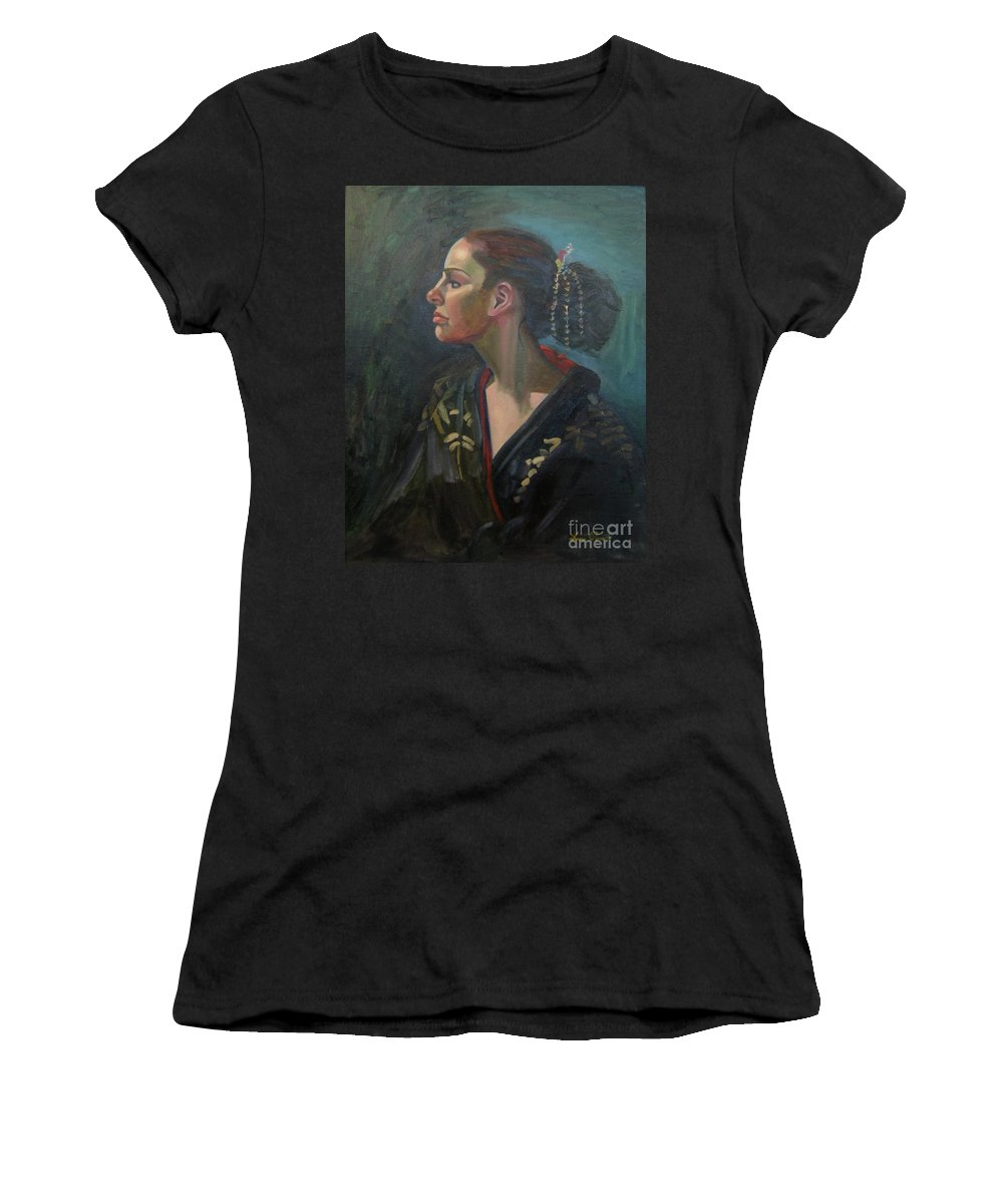 Figure Art Women's T-Shirt featuring the painting Her Kimono by Lilibeth Andre
