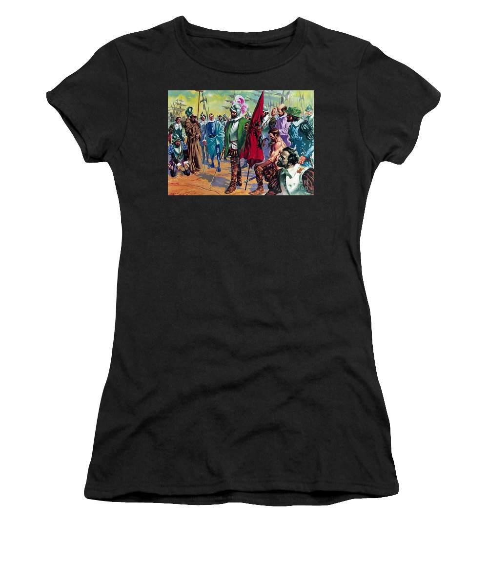 Hernando Cortes Arriving In Mexico In 1519 Women's T-Shirt (Athletic Fit) featuring the painting Hernando Cortes Arriving In Mexico In 1519 by English School