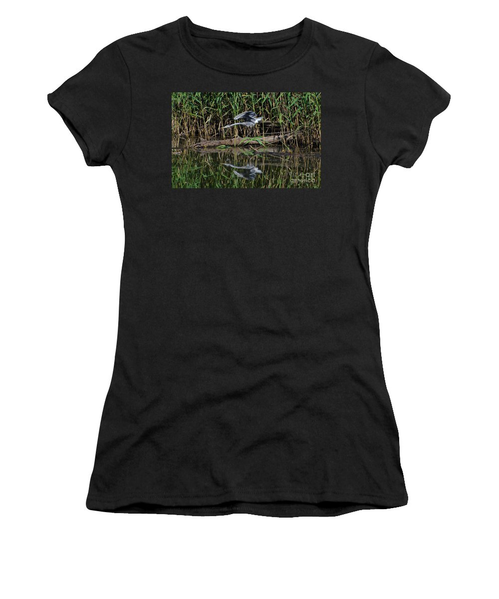 Heron Women's T-Shirt (Athletic Fit) featuring the photograph Heron Reflected In The Water by Mats Silvan
