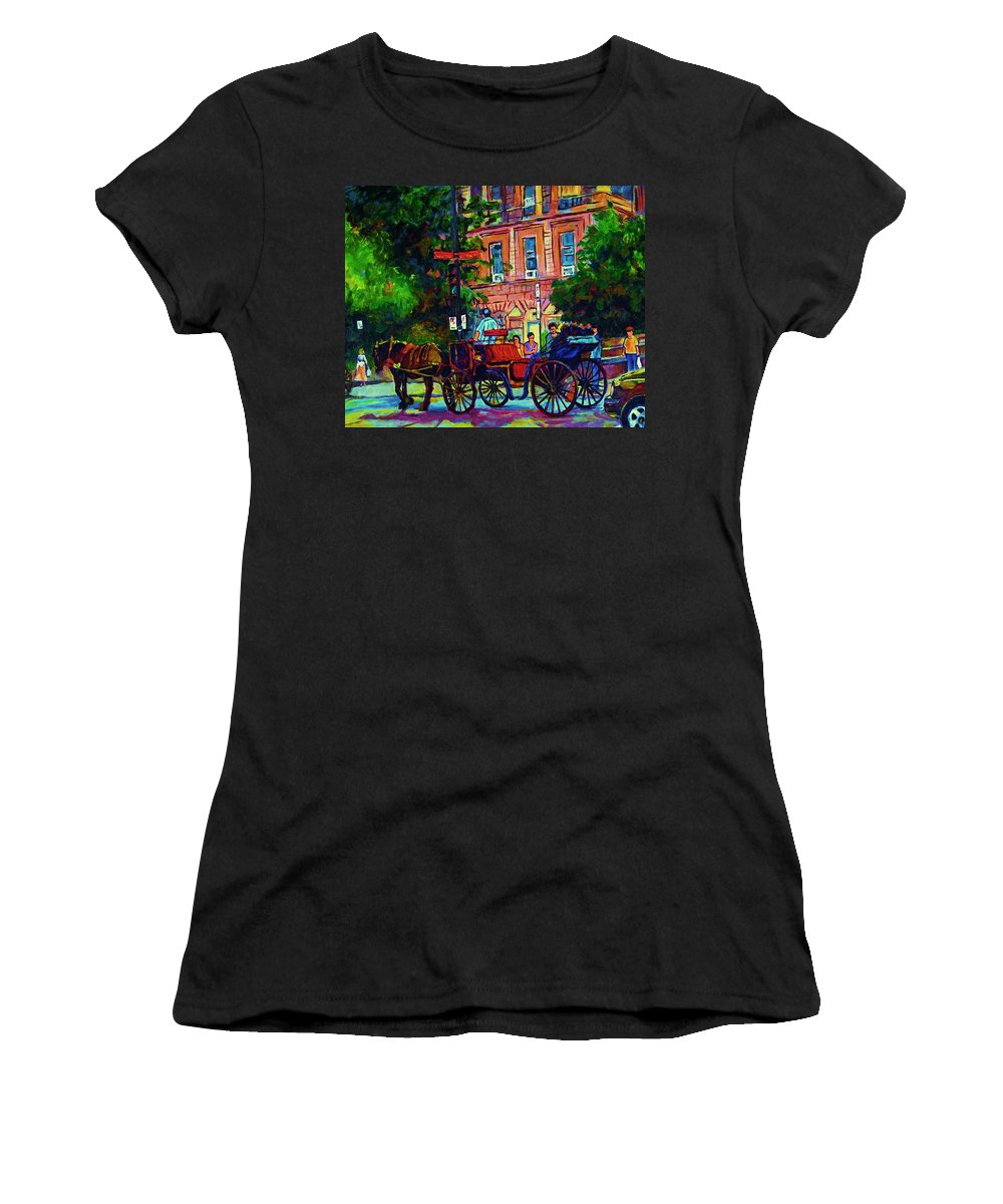 Rue Notre Dame Women's T-Shirt (Athletic Fit) featuring the painting Horsedrawn Carriage by Carole Spandau