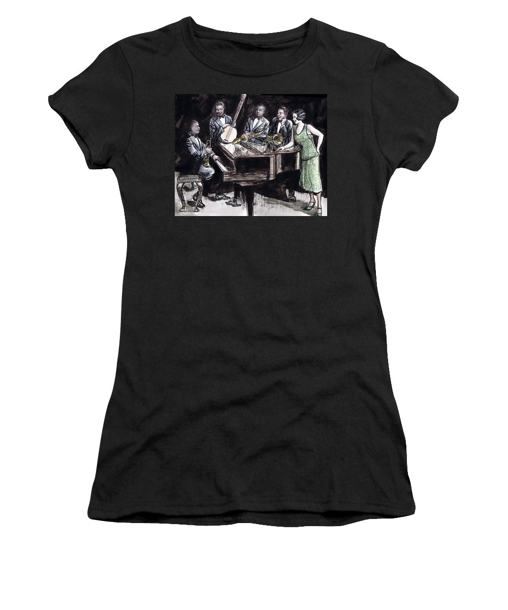 Nostalgia Women's T-Shirt (Athletic Fit) featuring the drawing Hot Five by Mel Thompson