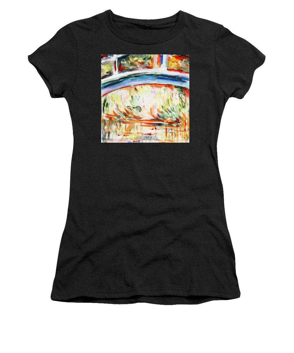Monet Painting Women's T-Shirt featuring the painting Impressions On Monet Painting Of Pond With Waterlilies by Irina Sztukowski