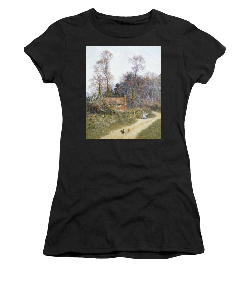English; Landscape; C19th; C20th; Victorian; Country; Road; Cottage; Female; Women; Gossiping; Chickens Women's T-Shirt (Athletic Fit) featuring the painting In A Witley Lane by Helen Allingham
