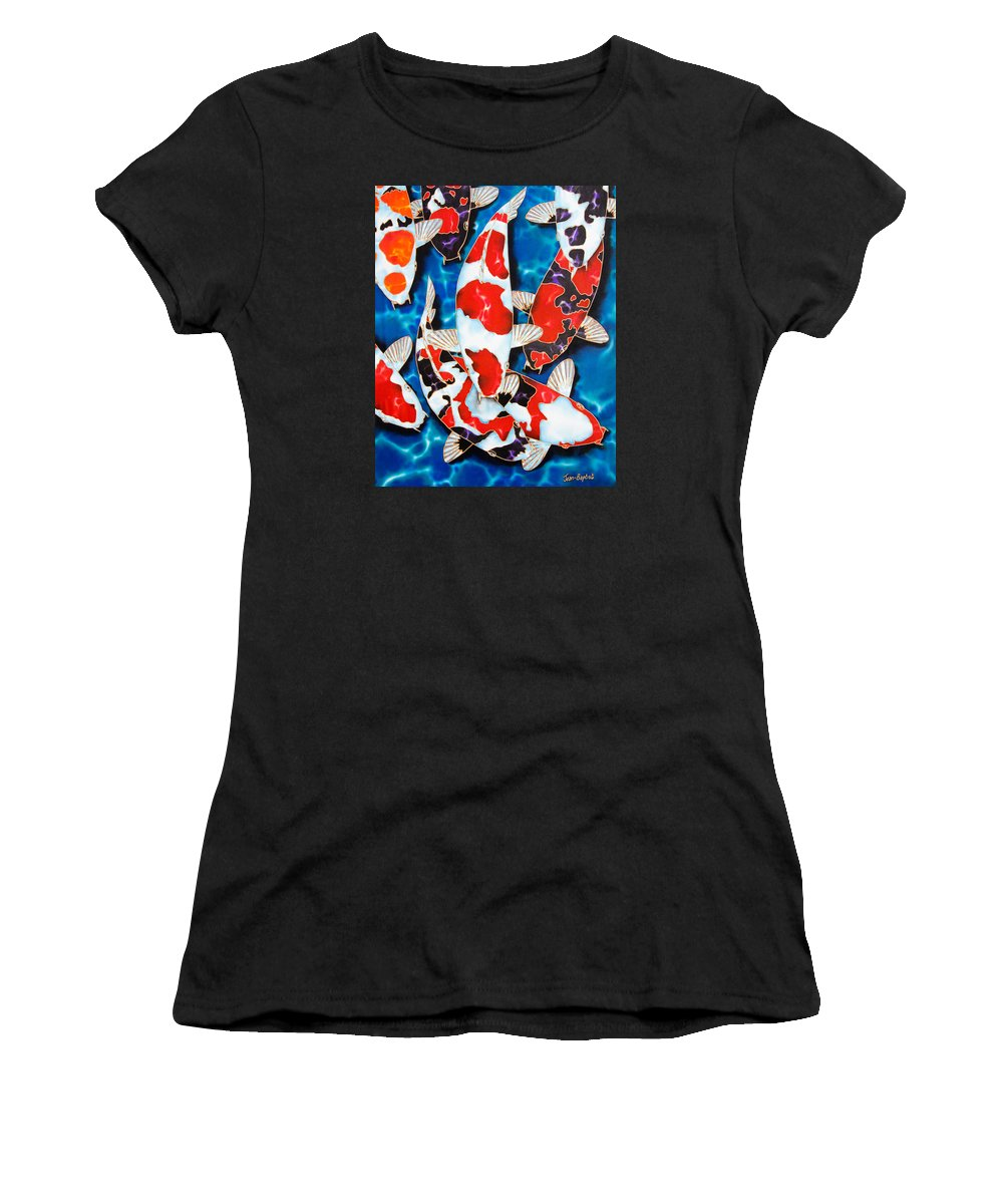 Fish Women's T-Shirt (Athletic Fit) featuring the painting Japanese Koi Pond by Daniel Jean-Baptiste