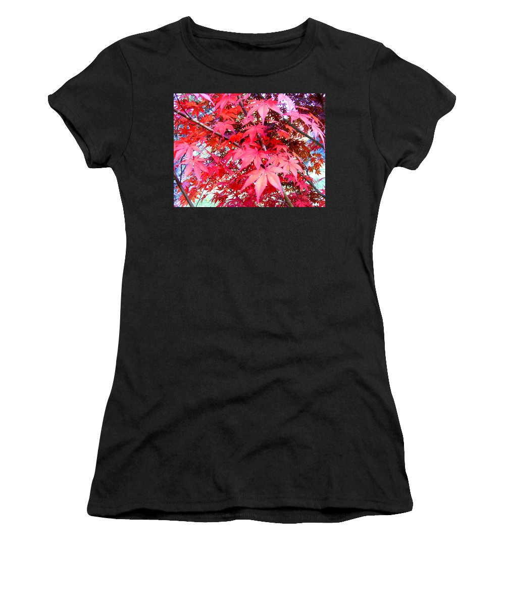 Fall Women's T-Shirt (Athletic Fit) featuring the photograph Japanese Maple Leaves 11 In The Fall by Duane McCullough