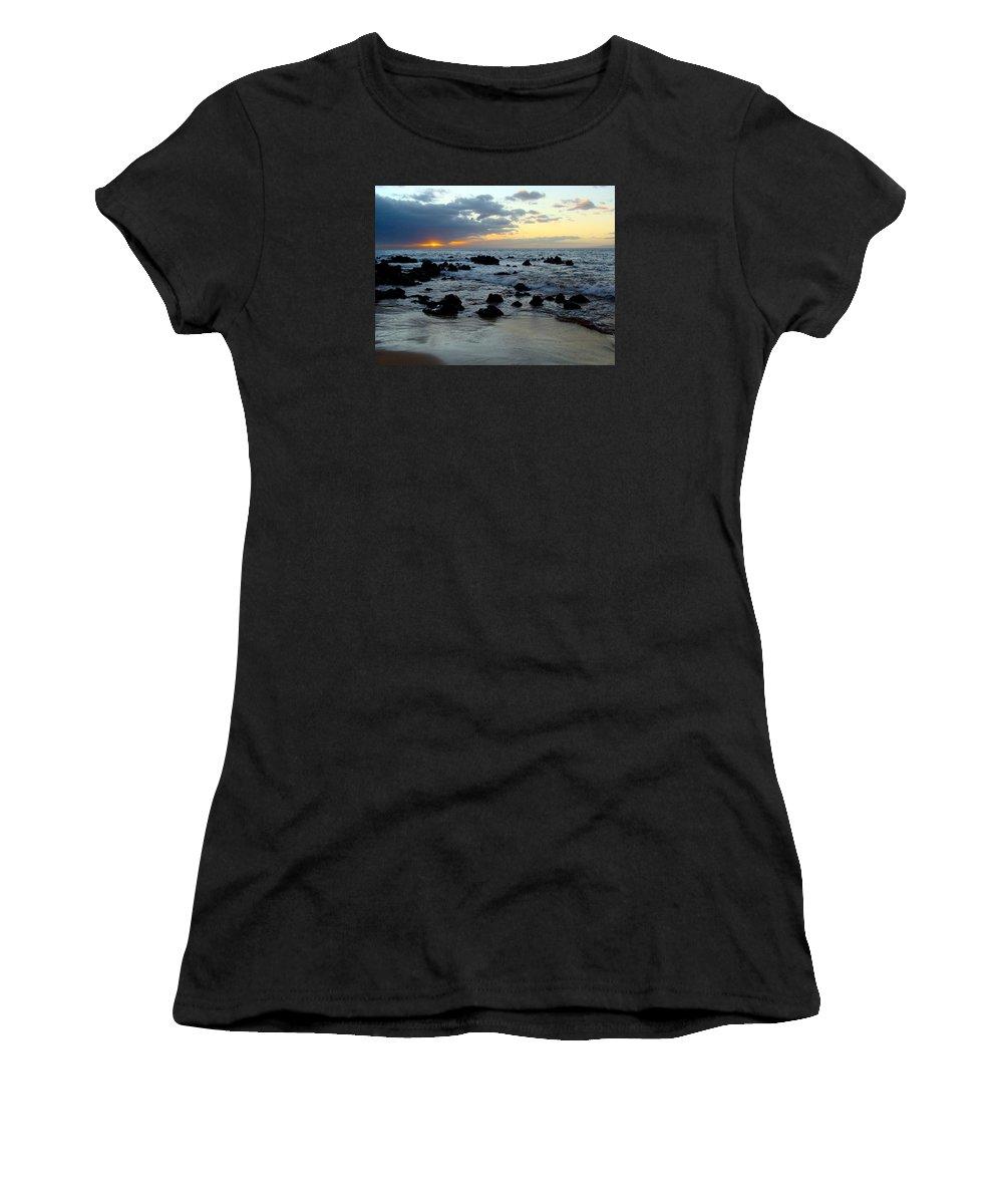 Keaweakapu Women's T-Shirt featuring the photograph Keaweakapu Beach Sunset by Karon Melillo DeVega