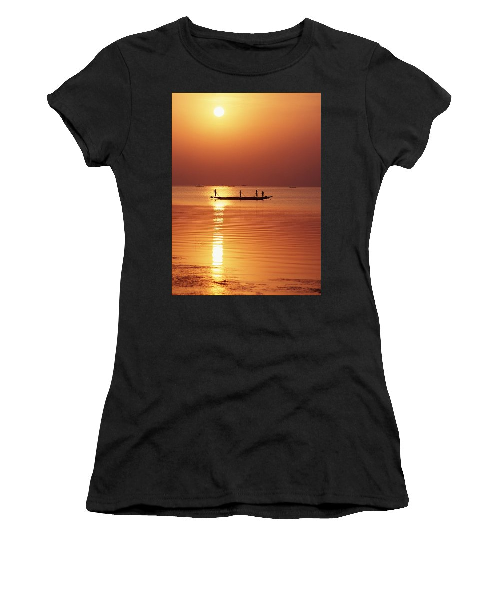 Water Women's T-Shirt (Athletic Fit) featuring the photograph Lake Chilka At Sunrise by Axiom Photographic