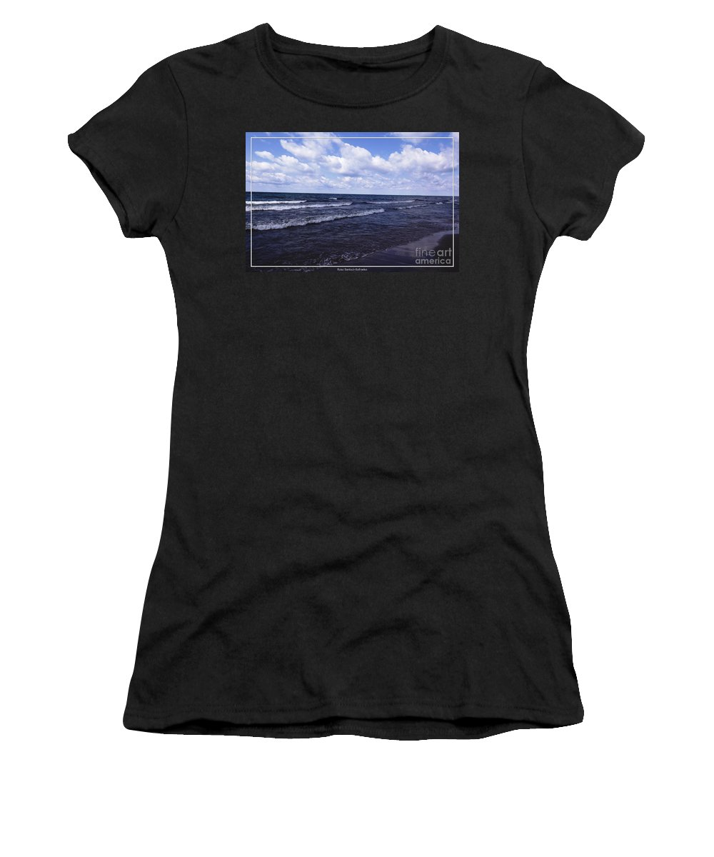 Evangola State Park Women's T-Shirt (Athletic Fit) featuring the photograph Lake Erie At Evangola State Park 2 by Rose Santuci-Sofranko