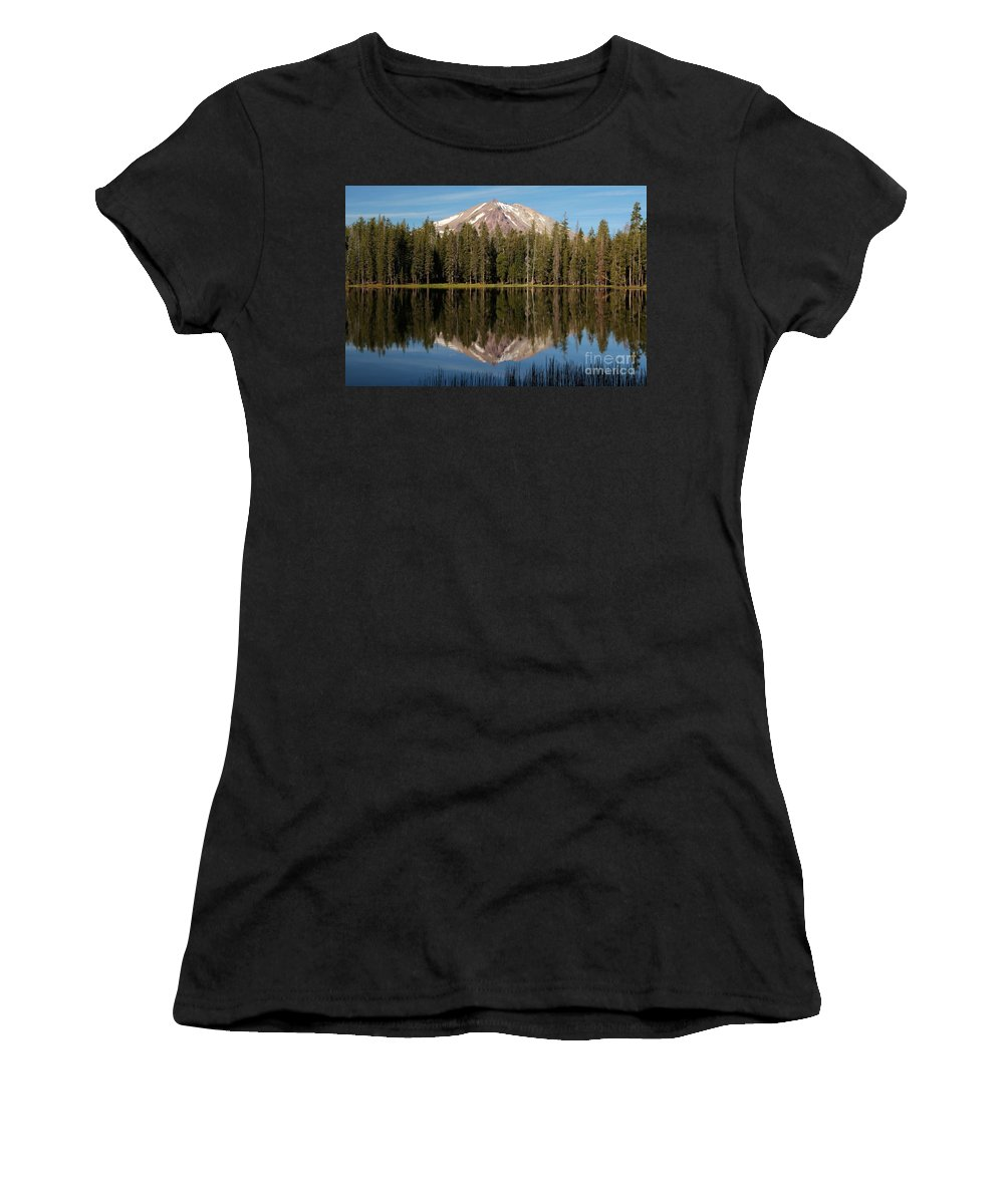Summit Lake Women's T-Shirt (Athletic Fit) featuring the photograph Lassen Peak Reflections by Adam Jewell