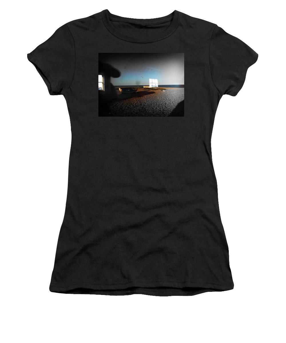Seagull Women's T-Shirt (Athletic Fit) featuring the photograph Late Flight by Charles Stuart