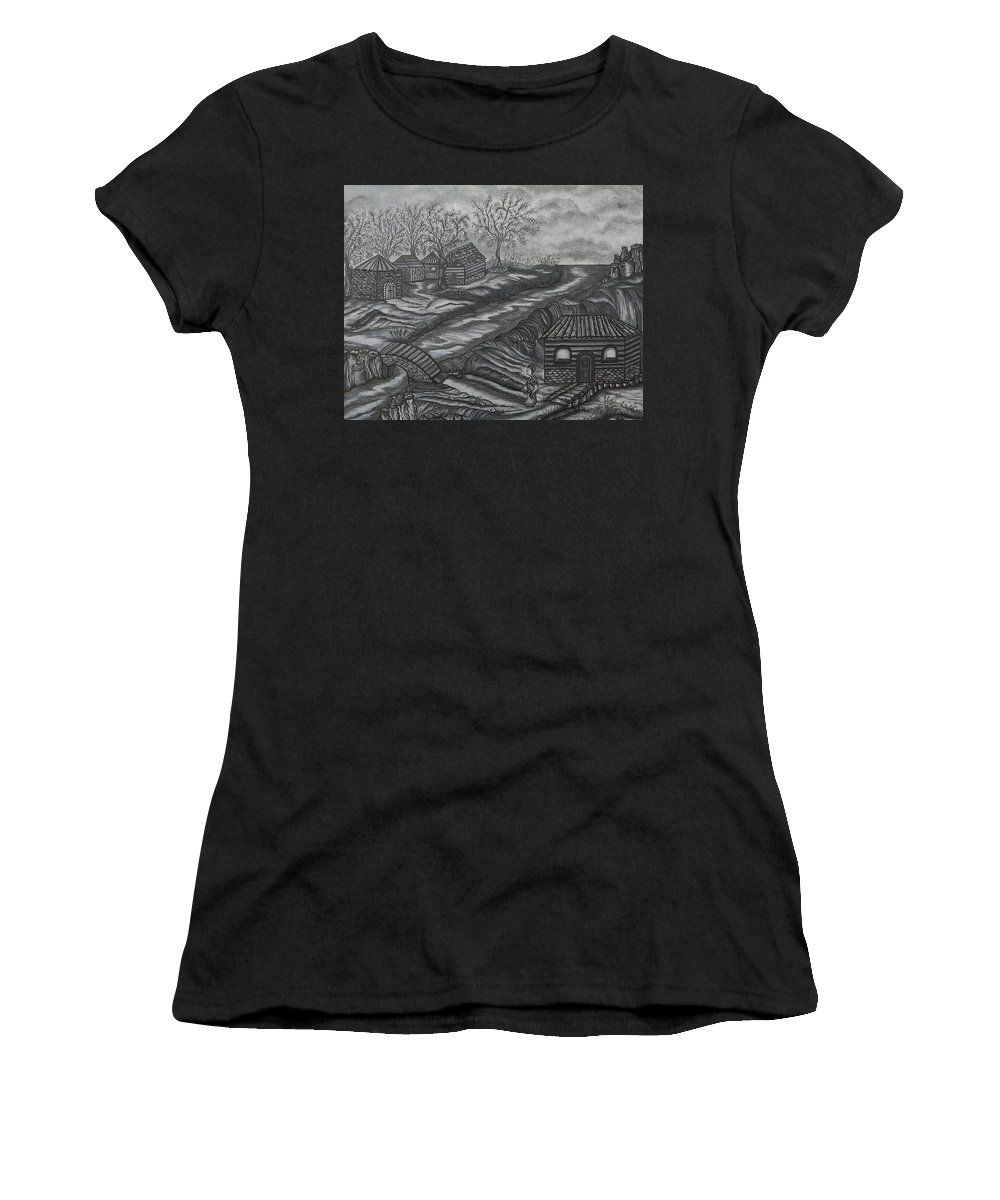 House Women's T-Shirt featuring the drawing Lauraly by Dominique St-Jean
