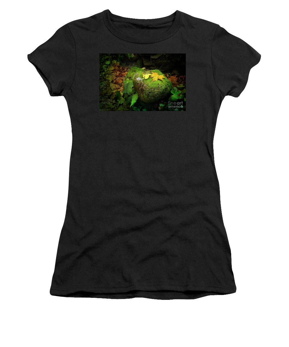 Autumn Women's T-Shirt (Athletic Fit) featuring the photograph Leafs On Rock by Carlos Caetano