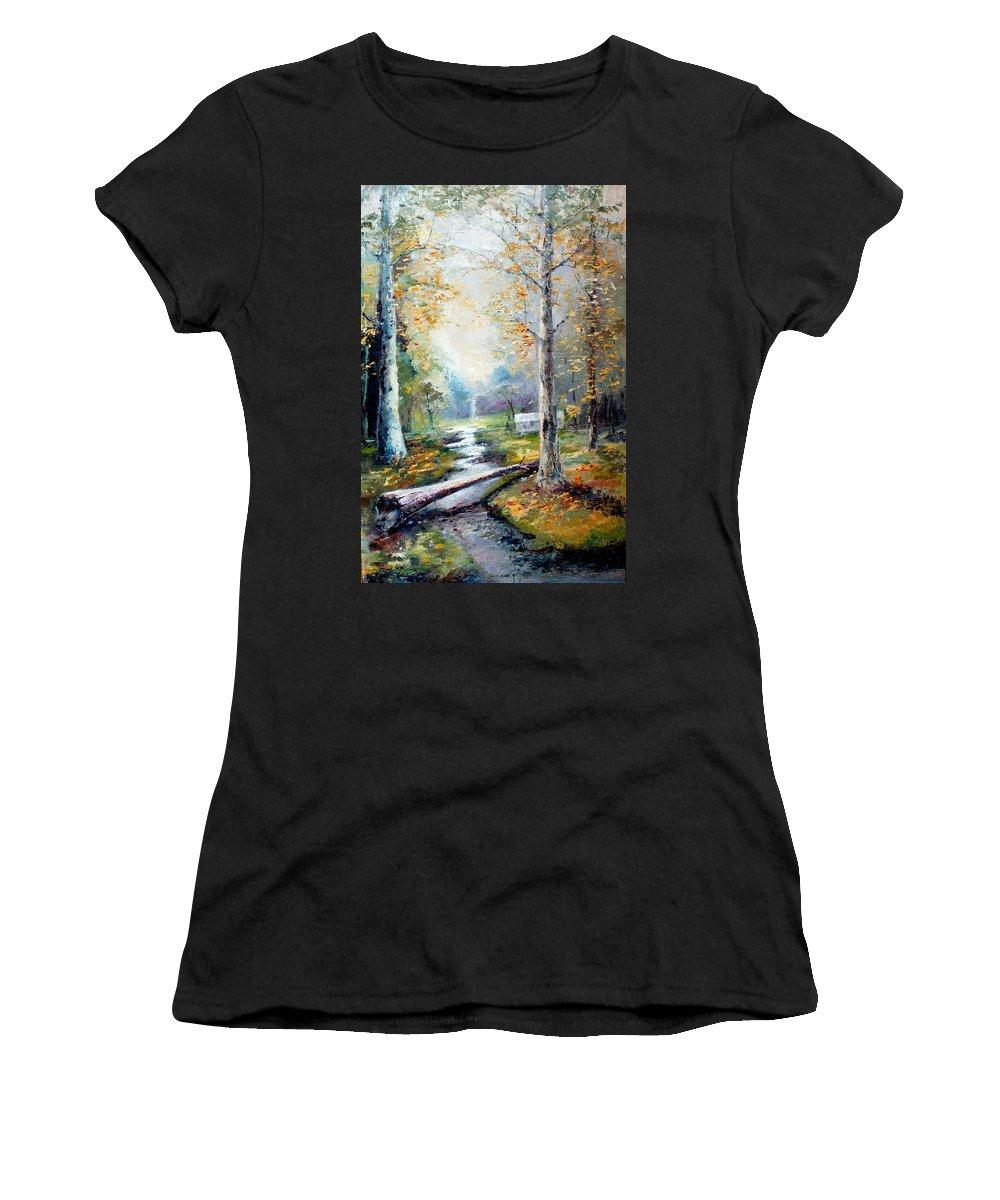 Australian Women's T-Shirt featuring the painting Leaving The Woodland Creek by Giro Tavitian
