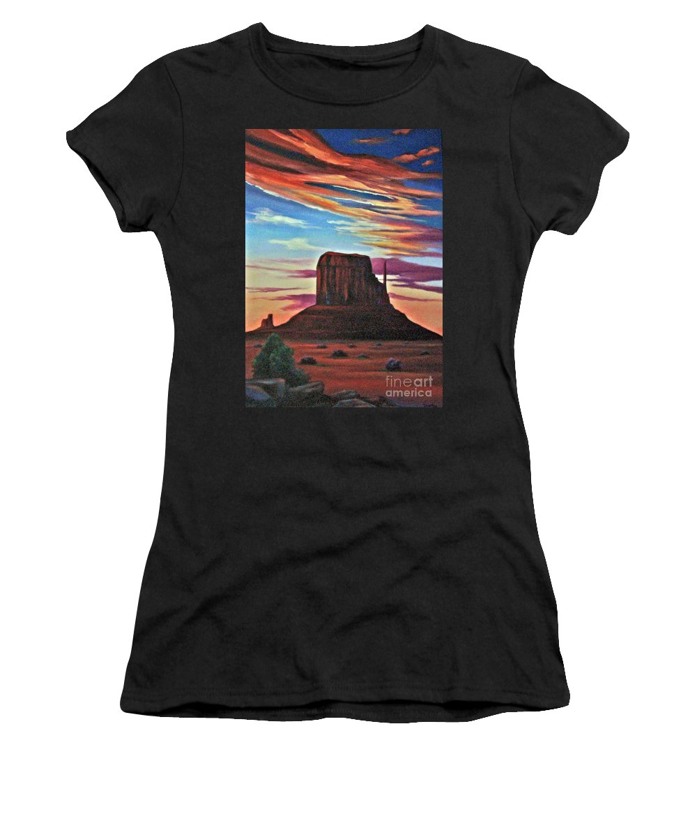 Left Mitten Women's T-Shirt (Athletic Fit) featuring the painting Left Mitten by Don Monahan