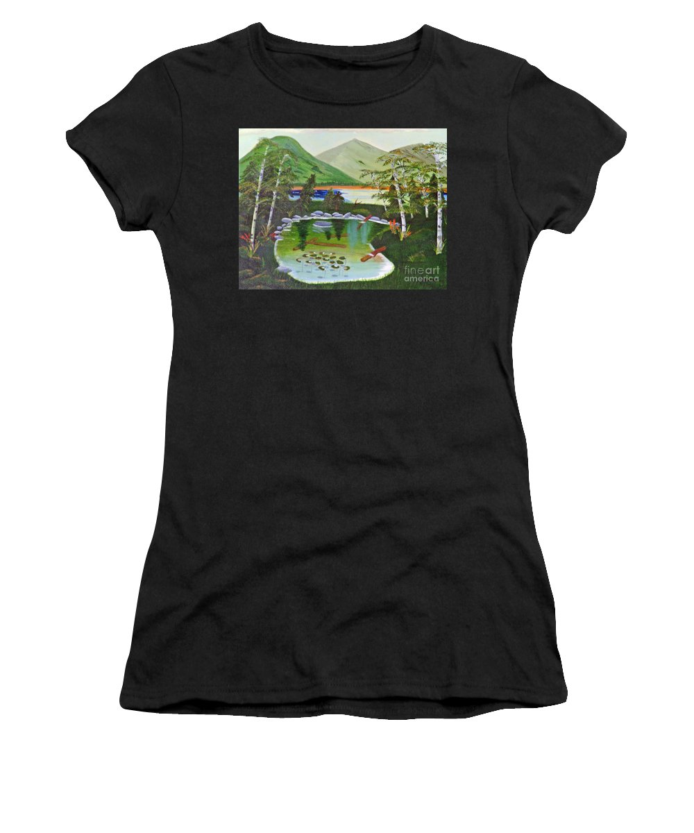 Lily Pond Women's T-Shirt (Athletic Fit) featuring the painting Lily Pond by Don Monahan